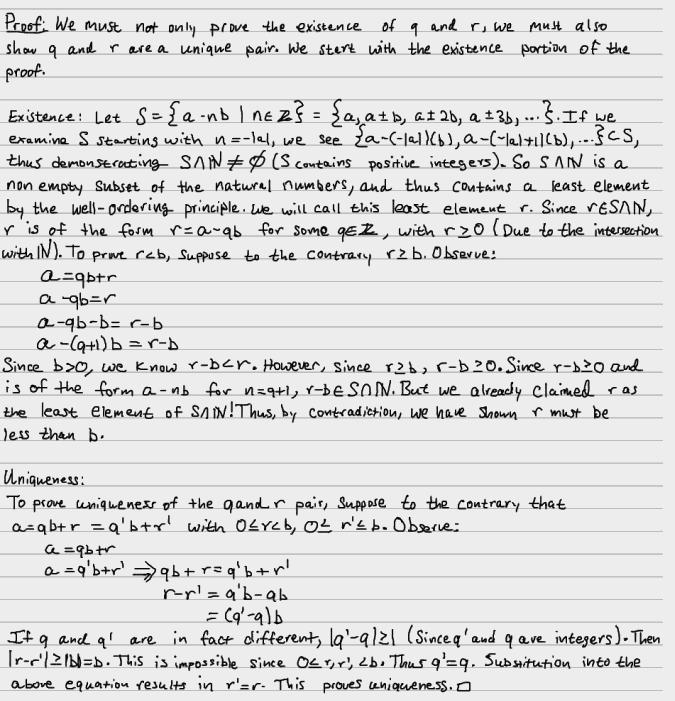 euclidean division algorithm proof